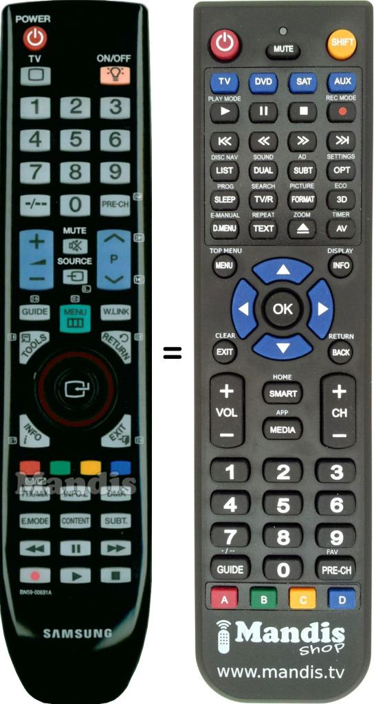 Replacement Samsung BN59-00865A Remote Control For UE40B7020WW