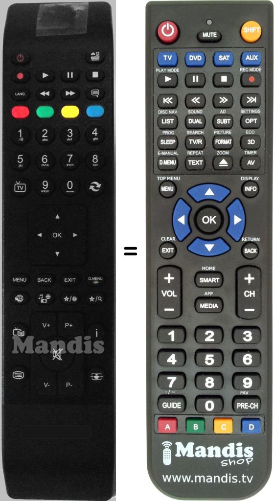 Replacement Remote Control For Bush DLED32165HD